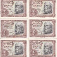 Billetes españoles: 6 BILLETES: 1 PESETA MADRID 22 JULIO 1953 - CONSECUTIVOS. Lote 107984143