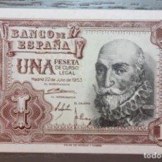 Billetes españoles: BILLETE UNA PESETA, 1953, SERIE I 5141728, PLANCHA. Lote 108302063