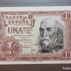 Billetes españoles: BILLETE UNA PESETA, 1953, SERIE N 8264133, PLANCHA. Lote 108302503