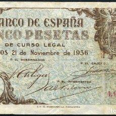 Billetes españoles: 5 PESETAS - BURGOS 1936 - MUY RARO. Lote 108461219