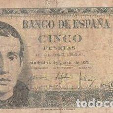 Billetes españoles: 5 PESETAS- 16 DE AGOSTO DE 1951. Lote 108893691