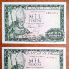 Billetes españoles: PAREJA CORRELATIVA DE 1000 PESETAS 1965 SERIE 1M ULTIMA EMITIDA, RARISIMA. Lote 109157507
