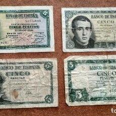 Billetes españoles: LOTE DE 4 BILLETES DE 5 PESETAS DE 1935, 1945, 1951, Y DE 1954. Lote 109158299
