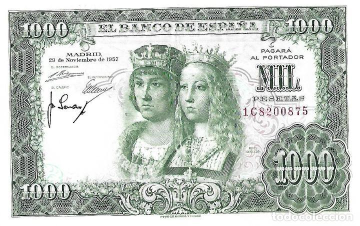 BANCO DE ESPAÑA BILLETE DE 1000 PESETAS 1957 REYES CATOLICOS MBC-SEMI PLANCHA (Numismática - Notafilia - Billetes Españoles)