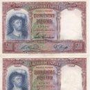Billetes españoles: PAREJA CORRELATIVA DE ESPAÑA DE 500 PESETAS DEL AÑO 1931 DE JUAN SEBASTIAN ELCANO. Lote 109860679