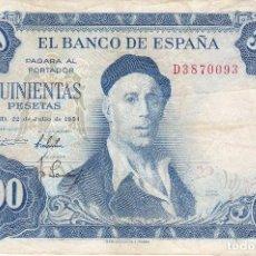 Billetes españoles: BILLETE DE 500 PESETAS DEL AÑO 1954 DE IGNACIO ZULOAGA SERIE D. Lote 109862299