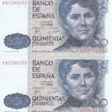 Billetes españoles: PAREJA CORRELATIVA DE 500 PESETAS DEL AÑO 1979 DE ROSALIA DE CASTRO SIN CIRCULAR - PLANCHA. Lote 109864303