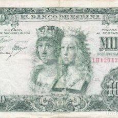 Billetes españoles: BILLETE DE 1000 PESETAS DEL AÑO 1957 DE LOS REYES CATOLICOS SERIE 1H. Lote 109870115