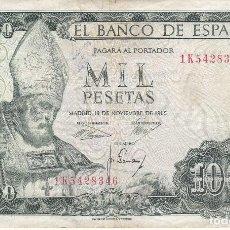 Billetes españoles: BILLETE DE 1000 PESETAS DEL AÑO 1965 DE S. ISIDORO SERIE 1K. Lote 109870615
