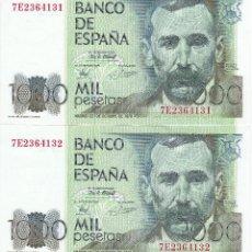 Billetes españoles: PAREJA CORRELATIVA DE 1000 PESETAS DEL AÑO 1979 DE PEREZ GALDOS SERIE 7E EN CALIDAD EBC. Lote 109872723