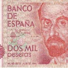 Billetes españoles: BILLETE DE 2000 PESETAS DEL AÑO 1980 DE JUAN RAMON JIMENEZ SERIE H EN BUENA CALIDAD. Lote 109881383