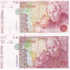 Billetes españoles: LOTE DE 2 BILLETES DIFERENTES DE 2000 PESETAS DEL AÑO 1992 EN CALIDADES EBC. Lote 109882383