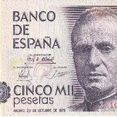 Billetes españoles: BILLETE DE 5000 PESETAS DEL AÑO 1979 DEL REY JUAN CARLOS I SIN SERIE SIN CIRCULAR. Lote 109884467
