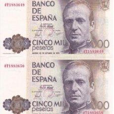 Billetes españoles: PAREJA CORRELATIVA DE 5000 PTAS DEL AÑO 1979 SERIE 4T EN CALIDAD EBC. Lote 109885431