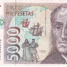Billetes españoles: BILLETE DE ESPAÑA DE 5000 PESETAS DE CRISTOBAL COLON DEL AÑO 1992 SERIE SUSTITUCION 9A. Lote 109887423