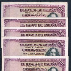 Billetes españoles: LOTE DE 5 BILLETES 50 PESETAS 1928 EBC++. Lote 110059219