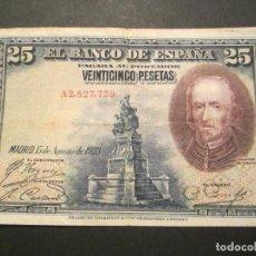 Billetes españoles: 25 PESETAS DE 1928 SERIE A-739 RESELLO DEL ESTADO ESPAÑOL EN SECO, RARO. Lote 110156731
