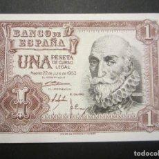 Billetes españoles: 1 PESETA DE 1953 SERIE H-288 PLANCHA. Lote 110157067