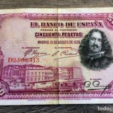 Billetes españoles: BILLETE ANTIGUO 50 PESETAS 1928. Lote 110189598