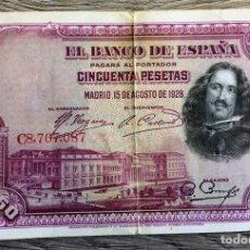 Billetes españoles: BILLETE ANTIGUO 50 PESETAS 1928. Lote 110190391