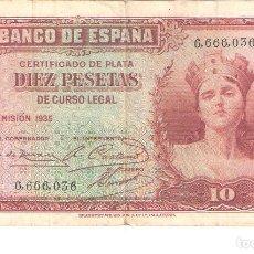 Billetes españoles: BILLETE DE ESPAÑA DE 10 PESETAS DE 1935 CIRCULADO. Lote 110720291