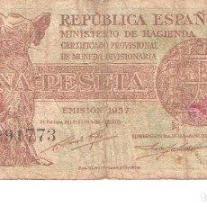 Billetes españoles: BILLETE DE ESPAÑA DE 1 PESETA DE 1937 CIRCULADO REPÚBLICA ESPAÑOLA. Lote 110720347