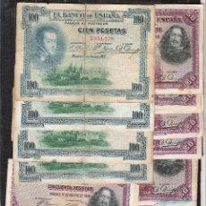 Billetes españoles: 21 BILLETES 50-100 PESETAS 1925-1928 SIN SERIE MBC/MBC-. Lote 110882891