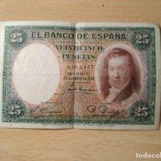 Billetes españoles: BILLETE DE 25 PESETAS DE 1931. Lote 111643543