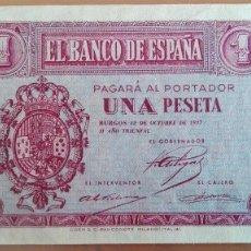 Billetes españoles: BILLETE 1 UNA PESETA BANCO ESPAÑA BURGOS OCTUBRE 1937 SERIE B MUY BUENA CONSERVACION MBC POR LO BAJO. Lote 152196472