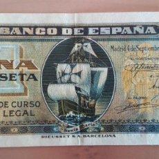 Billetes españoles: BILLETE 1 UNA PESETA BANCO ESPAÑA MADRID SEPTBRE 1940 SERIE C MUY BUENA CONSERVACION MBC POR LO BAJO. Lote 111775523