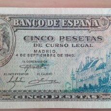 Billetes españoles: BILLETE 5 CINCO PESETAS BANCO ESPAÑA MADRID SERIE L 1940 MUY BUENA CONSERVACION MBC+ ALCAZAR SEGOVIA. Lote 111782287