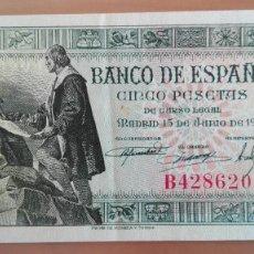 Billetes españoles: BILLETE 5 CINCO PESETAS BANCO ESPAÑA MADRID SERIE B 1945 MUY BUENA CONSERVACION MBC. Lote 111782823