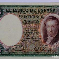 Billetes españoles: BILL-62. BILLETE DE 25 PESETAS, EMISION 25 ABRIL 1931. SIN SERIE . MBC-. Lote 112127343