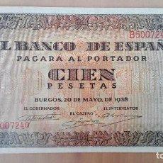Billetes españoles: BILLETE 100 CIEN PESETAS BANCO ESPAÑA BURGOS 1938 SERIE B - MUY BUENA CONSERVACION MBC CASA CORDON. Lote 112217683