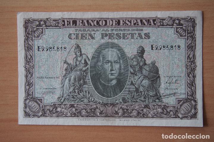GANGA !! BILLETE 100 PESETAS BANCO ESPAÑA MADRID 9 ENERO 1940 CRISTOBAL COLON CIEN AGUILA FRANCO VER (Numismática - Notafilia - Billetes Españoles)
