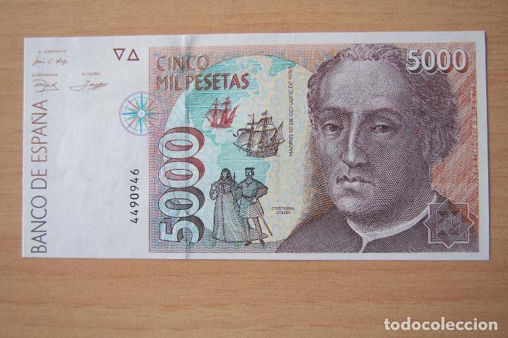 BILLETE 5000 PESETAS BANCO ESPAÑA MADRID 12 OCTUBRE 1992 CRISTOBAL COLON PLANCHA SC SIN SERIE. FOTOS (Numismática - Notafilia - Billetes Españoles)