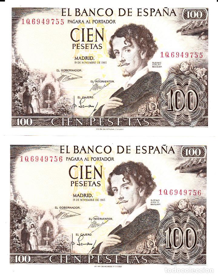 BANCO DE ESPAÑA - PAREJA DE BILLETES SIN CIRCULAR-PLANCHA 100 PESETAS 1965 - NÚMEROS CORRELATIVOS (Numismática - Notafilia - Billetes Españoles)
