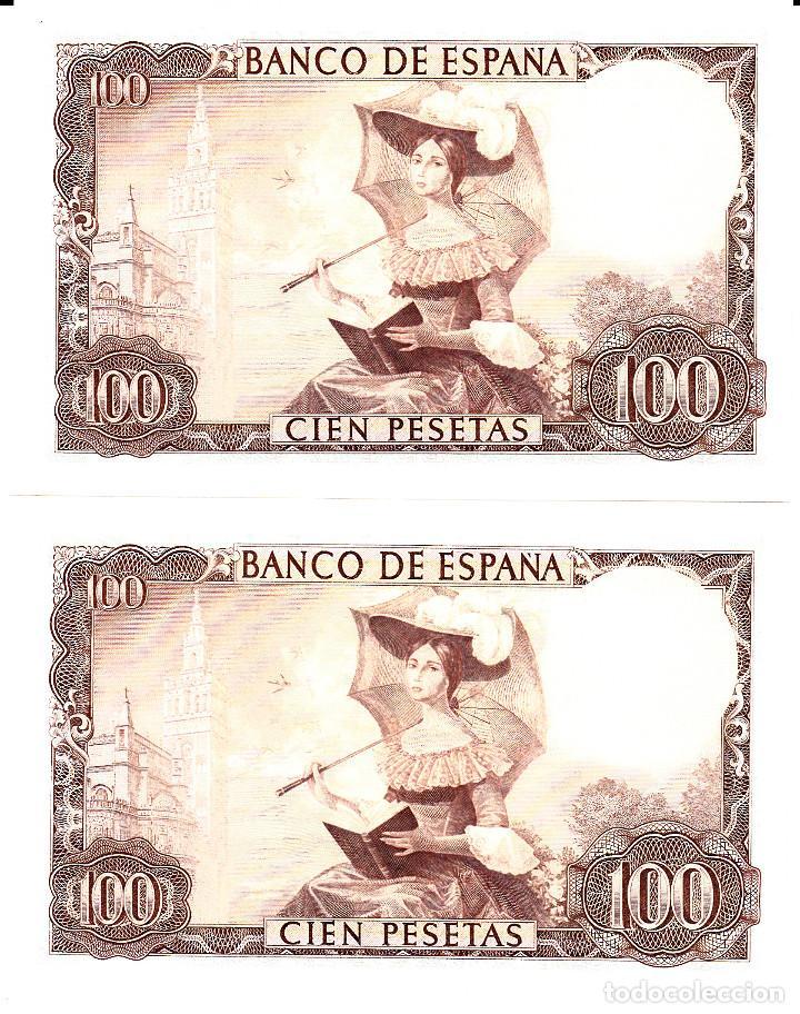 Billetes españoles: BANCO DE ESPAÑA - PAREJA DE BILLETES SIN CIRCULAR-PLANCHA 100 PESETAS 1965 - NÚMEROS cORRELATIVOS - Foto 2 - 112629467