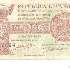 Billetes españoles: BILLETE DE ESPAÑA DE 1 PESETA DE 1937 CIRCULADO REPÚBLICA ESPAÑOLA. Lote 112712767