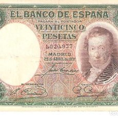 Billetes españoles: BILLETE DE ESPAÑA DE 25 PESETAS DE 1931 CIRCULADA. Lote 112713079