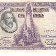 Billetes españoles: BILLETE DE ESPAÑA DE 100 PESETAS DE 1928 CIRCULADO CERVANTES. Lote 112716191