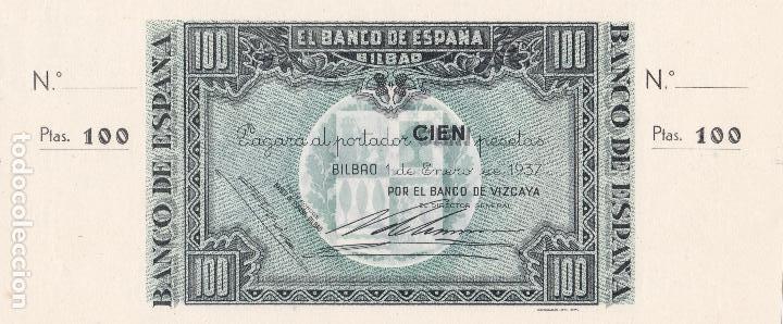 BILLETE 100 PESETAS BANCO ESPAÑA BILBAO EUZKADI 1 ENERO 1937 BANCO VIZCAYA CON MATRIZ SC PLANCHA (Numismática - Notafilia - Billetes Españoles)