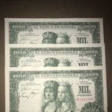 Billetes españoles: TRÍO CORRELATIVO 1000 PESETAS 1957. REYES CATÓLICOS. Lote 113370296
