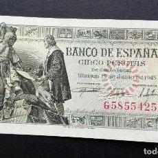 Billetes españoles: 5 PESETAS 1945 ,SERIE G, (SC). Lote 113391151