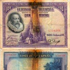 Billetes españoles: 100 PESETAS - CERVANTES - 15-AGOSTO-1928. Lote 113485103