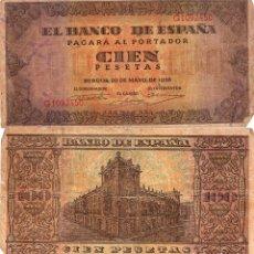 Billetes españoles: 100 PESETAS - BURGOS - 20-MAYO-1938. Lote 113485259