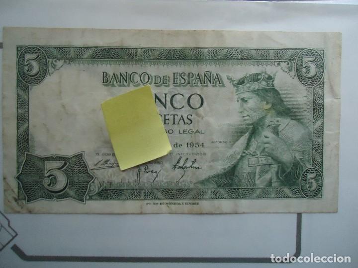 billete 5 pts alfonso X el sabio cinco pesetas 1954 banco españa madrid