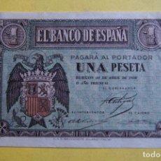 Billetes españoles: BILLETE 1 UNA PESETA BANCO DE ESPAÑA. BURGOS 30 ABRIL 1938. AGUILA FRANCO. FRANQUISTA. +EBC/-SC. Lote 113592615