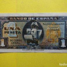 Billetes españoles: BILLETE 1 PESETA BANCO ESPAÑA CARABELA SANTA MARIA. MADRID 4 SEPTIEMBRE 1940 RIEUSSET. UNA. BONITO. Lote 113595583
