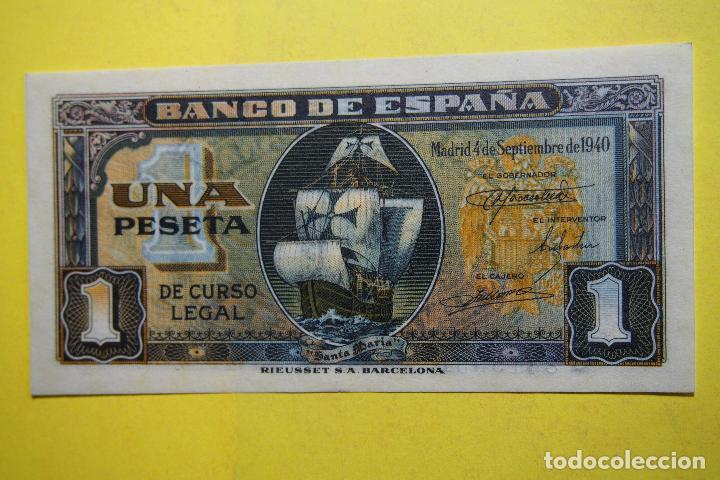 Billetes españoles: BILLETE 1 PESETA BANCO ESPAÑA CARABELA SANTA MARIA. MADRID 4 SEPTIEMBRE 1940 SC PLANCHA RIEUSSET UNA - Foto 3 - 113596123